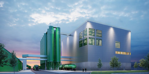 Ragn-Sells har tatt det første spadetaket for byggingen av sitt Ash2Salt-anlegg. (Illustrasjon: Sweco)