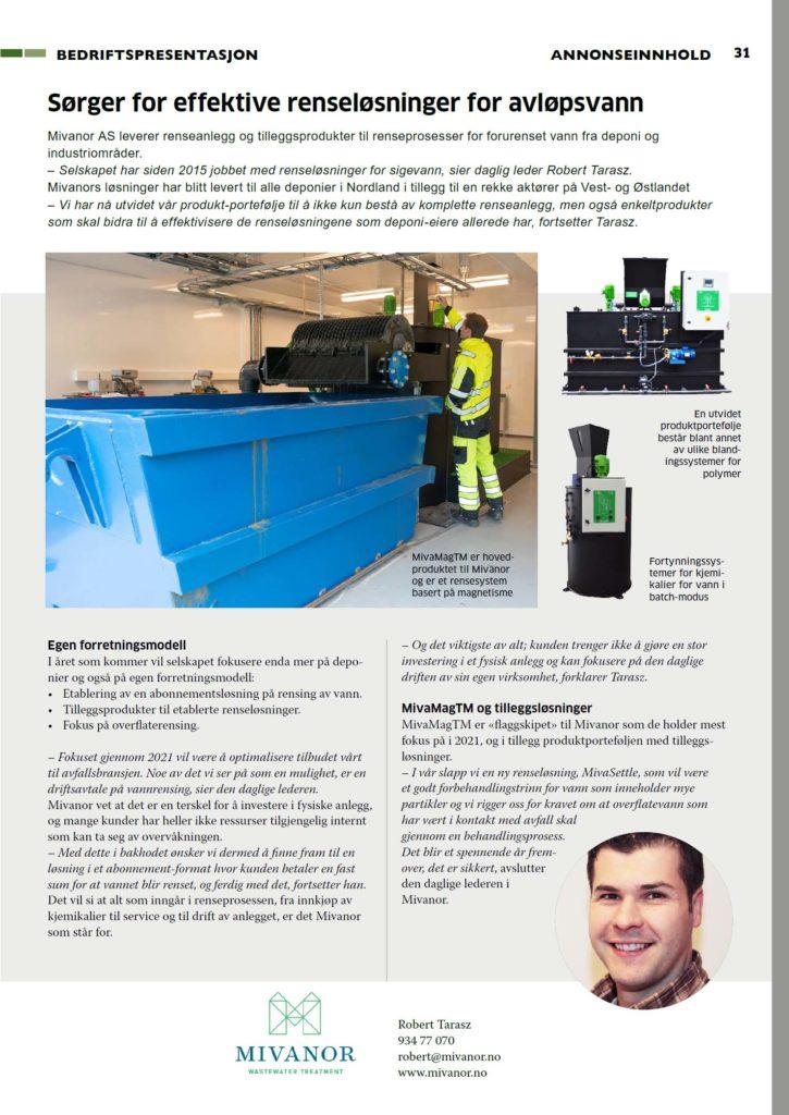 Mivanor sørger for effektive renseløsninger for avløpsvann - mivanor.no
